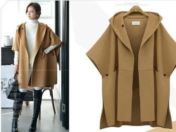 5xl womens clothing European Suit-dress Cloak Woolen Loose Coat Winter Clothes Woollen Overcoat Fat Mm Long Windbreaker  jacket