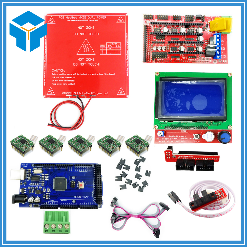 CNC 3D Printer Kit Mega 2560 R3 + MK2B + RAMPS 1.4 Controller + LCD 12864 + 6x Optical Switch Endstop + 5x A4988 3 pcs new opto optical endstop end stop switch cnc optical endstop using tcst2103 photo interrupter