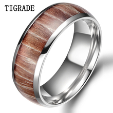 цены TIGRADE8mm Wood Inlay Titianium Ring With High Polish Edge Men Wedding Band Engagement Rings For Women bague femme anillos mujer