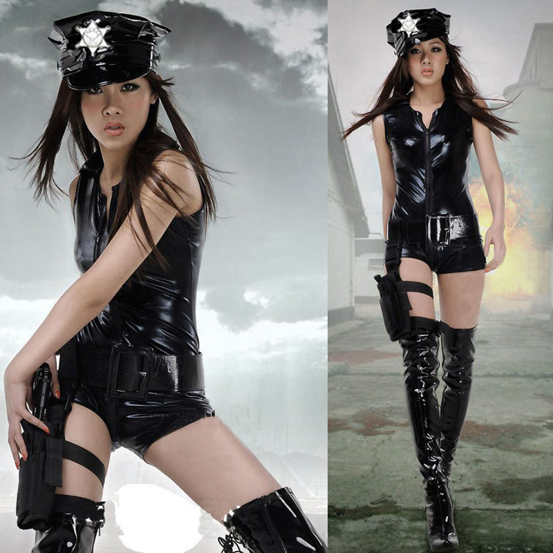 Big Discount High Quality Adult Women Sexy Leather Latex Police Uniform Cop Hat Bodycon Belt Bodysuit Erotic Woman Cosplay