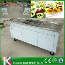 110v/220v stainless steel fried ice cream machine with 2 pans+10 toppings  R410 Refrigerant