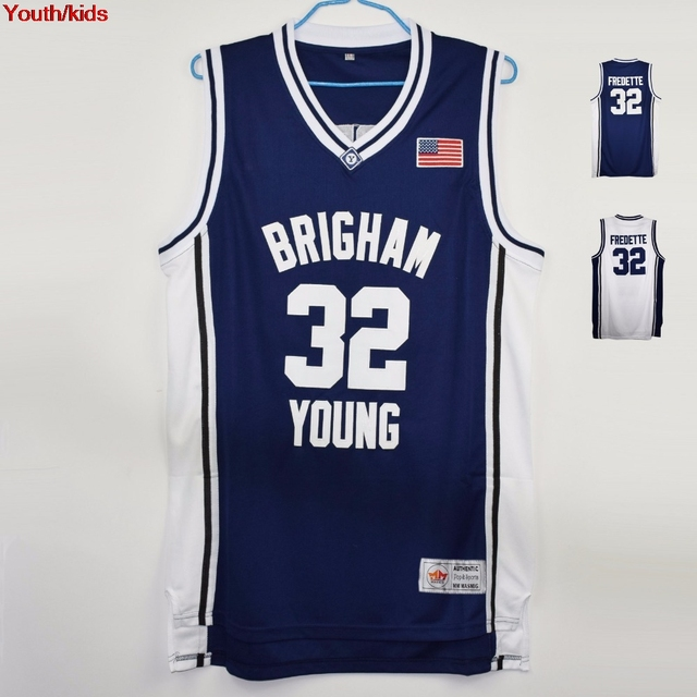0fc166ae7 Youth Kids Jimmer Fredette  32 Brigham Young Basketball Jersey Stitched  White and Navy