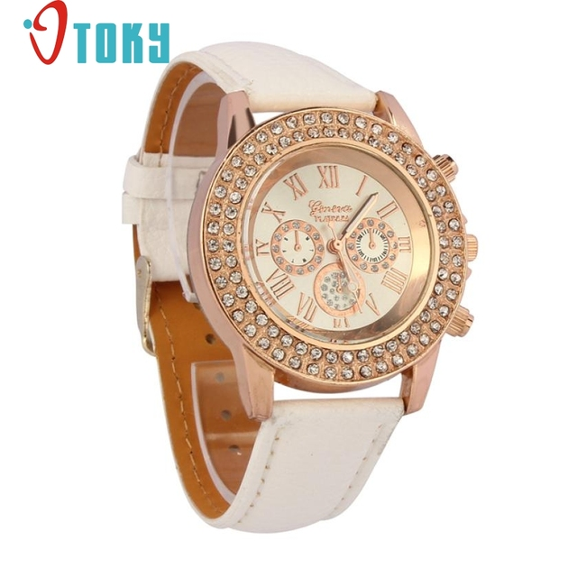 Hot Sales Girl Women rhinestone watch Fashion Crystal Leather Band Bracelet watc