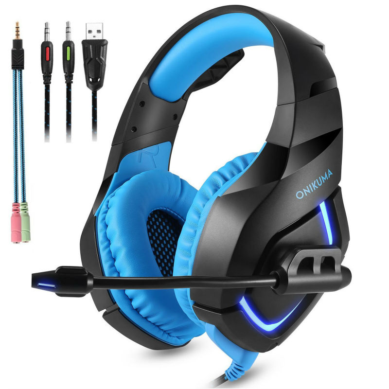 ONIKUMA PC Gaming Headset for PS4 Xbox one 3.5mm Stereo USB LED Headphones with Omnidirectional Mic Volume Control Earphones each g8200 gaming headphone 7 1 surround usb vibration game headset headband earphone with mic led light for fone pc gamer ps4