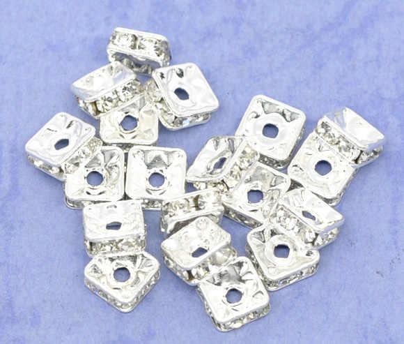 Медь + бусы со вставками из стразов квадратные посеребренные белые стразы около 6 мм x 6 мм, отверстие: около 1,2 мм, 3 шт. Новинка