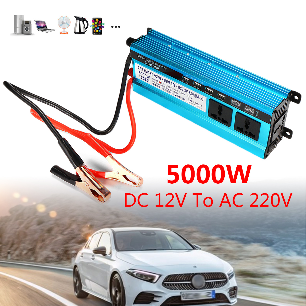 5000W 12V/24V DC to 220VAC Solar Power Inverter Dual LED Screens Modified Sine Wave Converter Overload Protection Cool Fan