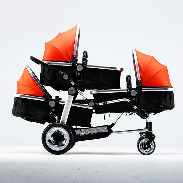 Poussette Separable Triplets Cochecito de Bebé De Aluminio de alta Calidad Del Cochecito de Bebé 3 en 1 Multifuncional A Prueba de Golpes Kinderwagen C01