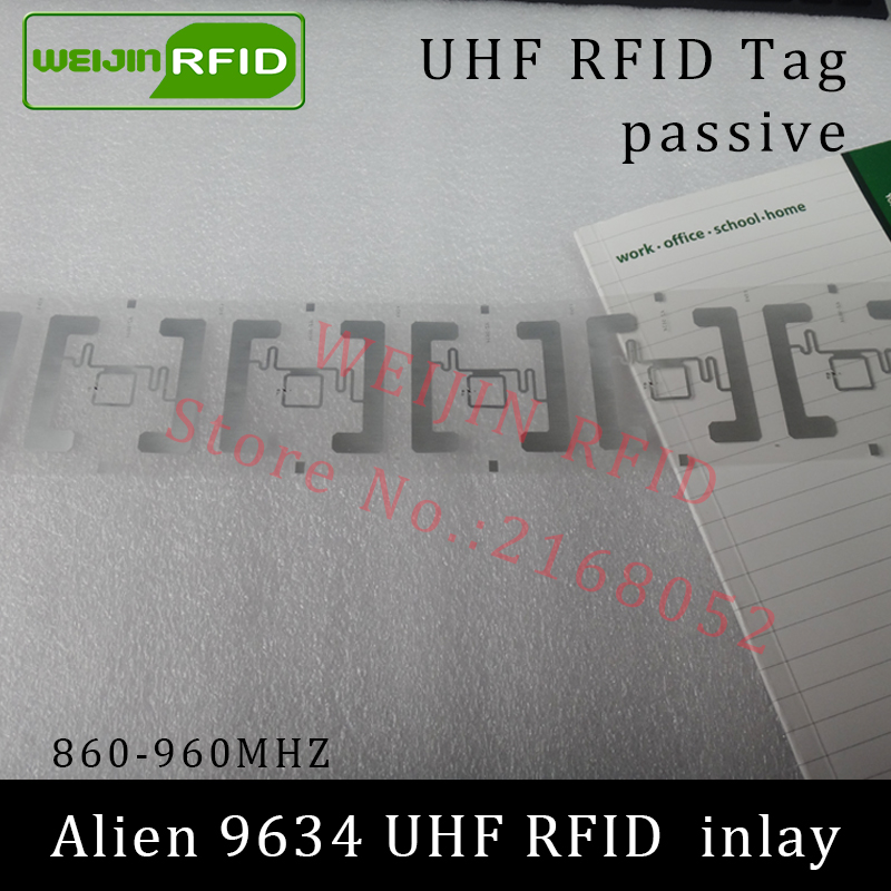 UHF RFID tag Alien 9634 dry inlay 915mhz 900mhz 868mhz 860-960MHZ Higgs3 EPC C1G2 ISO18000-6C smart card passive RFID tags label 1000pcs long range rfid plastic seal tag alien h3 used for waste bin management and gas jar management