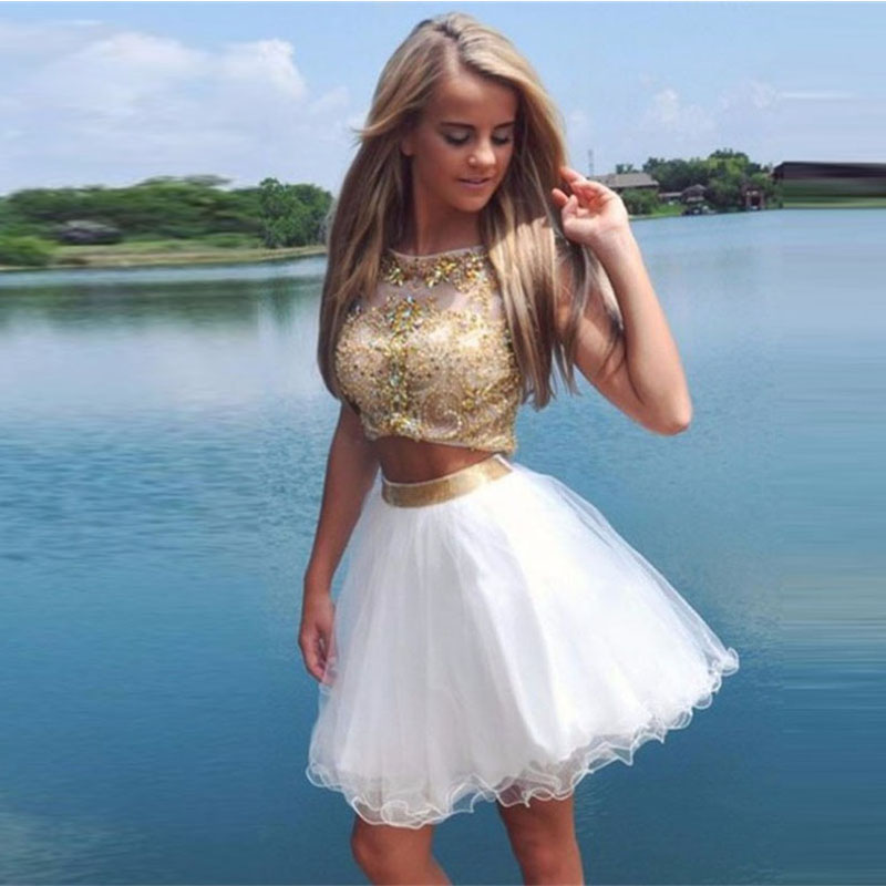 481bbdfe9e 2 Piece White And Gold Prom Dresses 2016 New Fashion A Line Beaded  Rhinestone Graduation Homecoming Short Cocktail Gowns Tulle-in Prom Dresses  from Weddings ...