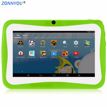 7 inch Kids Tablet PC Android4.4 Quad Core 512MB/8GB Wi-Fi Tablet Baby Games Designed for Children With Gift Box+Rubber Cover(China)