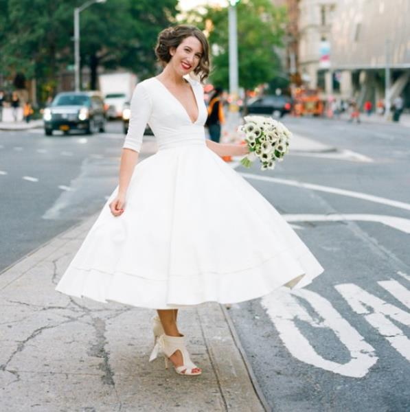 Short Tea Length Wedding Dresses 2016 With Deep V Neck Half Sleeves Chinese Ball Gown