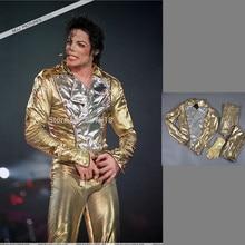 МД Майкл Джексон история плохой Золотой спандекс двубортный тканые куртка брюки для девочек Прихватки мангала полный набор ПР