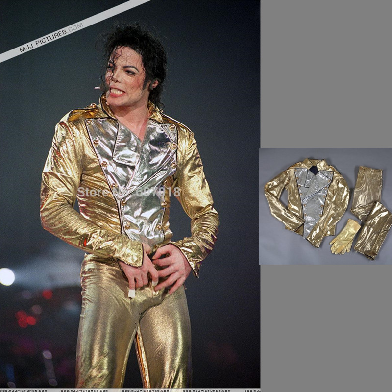 MJ  Michael Jackson History BAD Golden Spandex Double Breasted Woven Jacket Pants Gloves Full Set Performance Gift