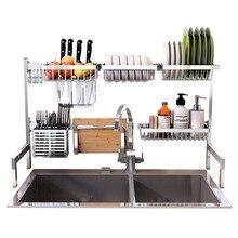 Estante para platos de cocina de acero inoxidable 304 Tiktok plato caliente cubertería escurridor para fregadero soporte de almacenamiento organizador de cocina