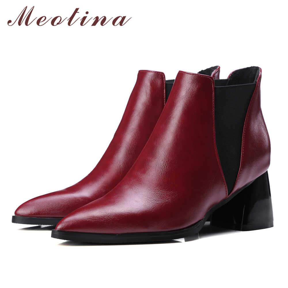 Meotina Ayakkabı Kadın yarım çizmeler Tıknaz Yüksek Topuklu Kadın Çizmeler Sivri Burun Bayanlar Chelsea Çizmeler Şarap Kırmızı Siyah Büyük Boy 10 42 43