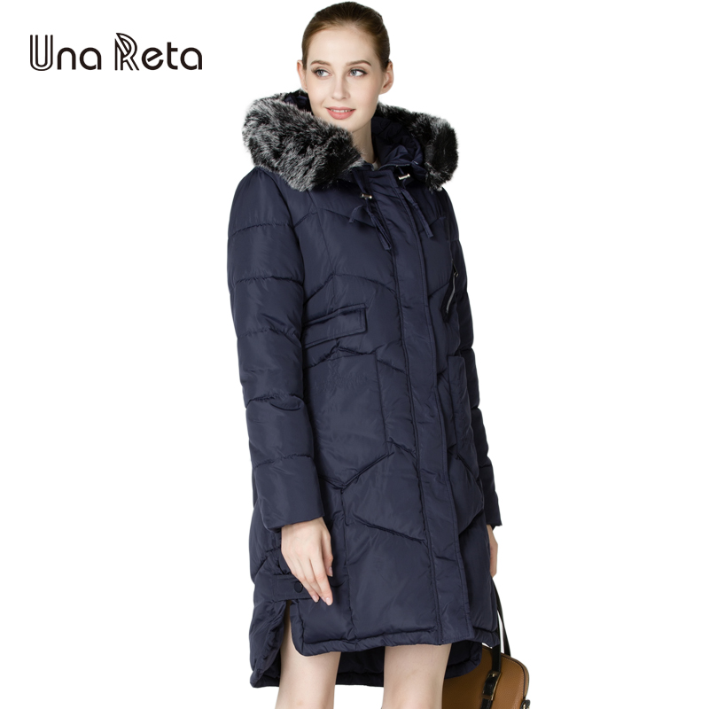 Una Reta 2017 New Winter Jacket Women Medium Length High Quality Cotton Parka Coat Outwear Female Jacket With Fur Hooded