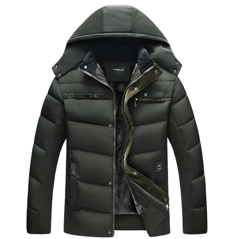 Mens Windproof Down Parka Hooded Outerwear