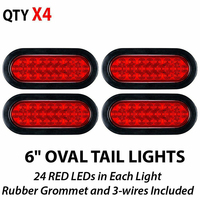6 Inch Red Oval LED Truck RV Trailer Tail Lights Turn Stop Brake IP67 Waterproof