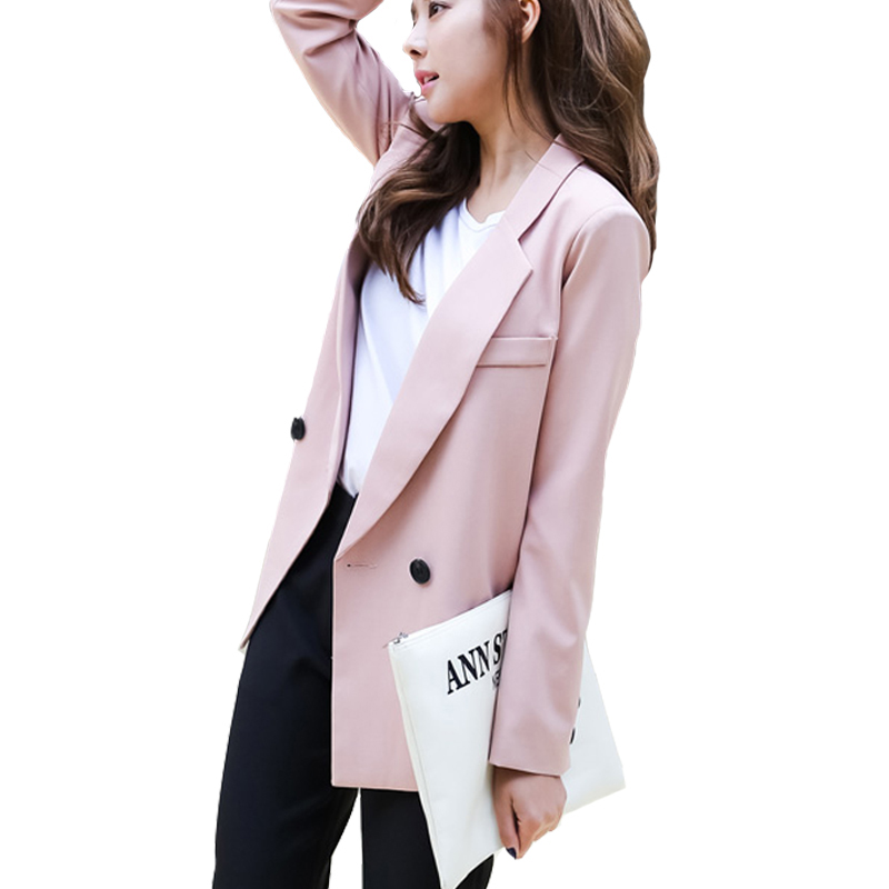 2018 Hot Sales Spring Women Pink Side Slit Blazers Thin Blazer Office Jacket Fashion Notched ...