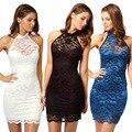 Mulheres vestido de verão sexy bodycon vestido sem mangas backless casual black lace dres noite clube de festa vestido de baile vestido bandagem