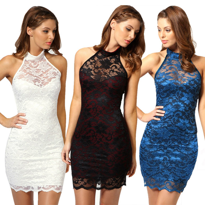 summer women dress sexy bodycon dress sleeveless backless casual black lace  dres night club dress prom party bandage vestido 7c08f0ea123d