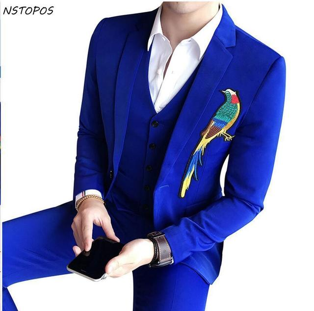3 Pieces Costume Homme Mariage 2017 Embroidery Prom Suits Men Royal ...