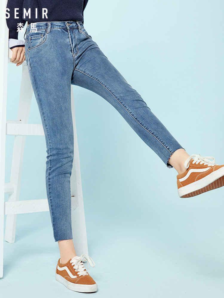 Semir Vrouwen Cropped Skinny Jeans Raw-Edge Zoom Retro Stijl Vrouwen Enkel Jeans Gewassen Denim Zip Slim Fit