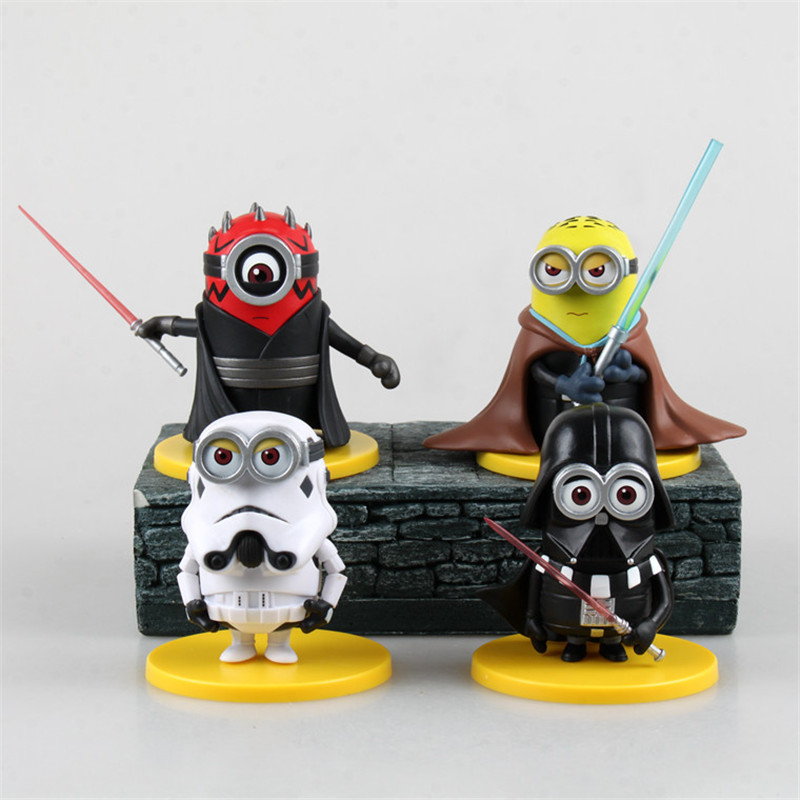 WVW 4pcs/Set Movie Star Minions R2D2 Darth Maul Yoda DV Play Arts Model PVC Toy Action Figure Decoration For Collection Gift wvw 18cm hot sale movie hero spider man venom play arts model pvc toy action figure decoration for collection gift