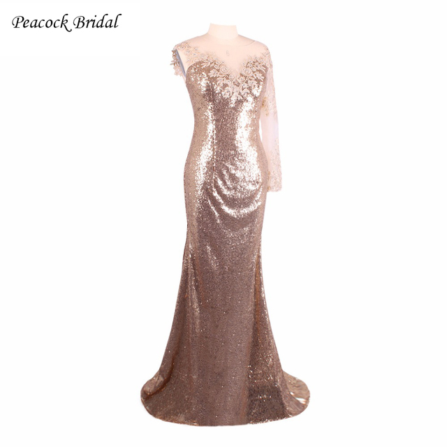 Peacock Abendkleider Sexy See Through Back Gold Champagne Mermaid ...