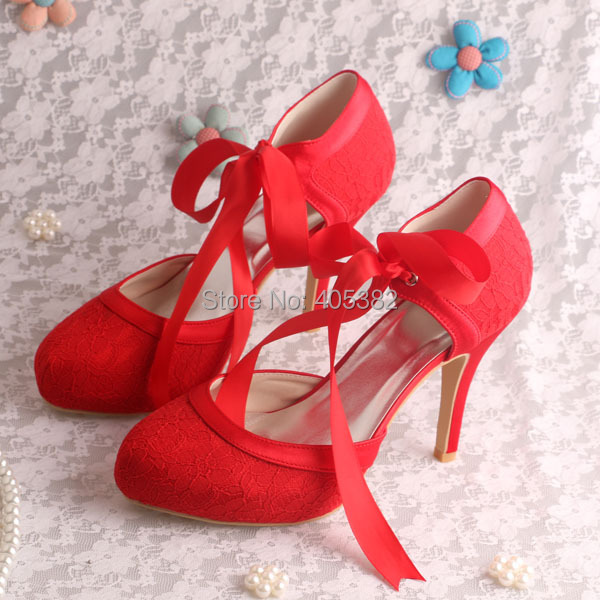 red lace closed toe heels