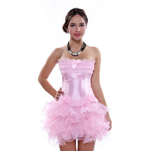 Image 4 - Carnival Party Sexy Satin Lingerie Corset and Bustier Mini Tutu Petticoat Skirt Fancy Wedding Dress Costume S 6XL