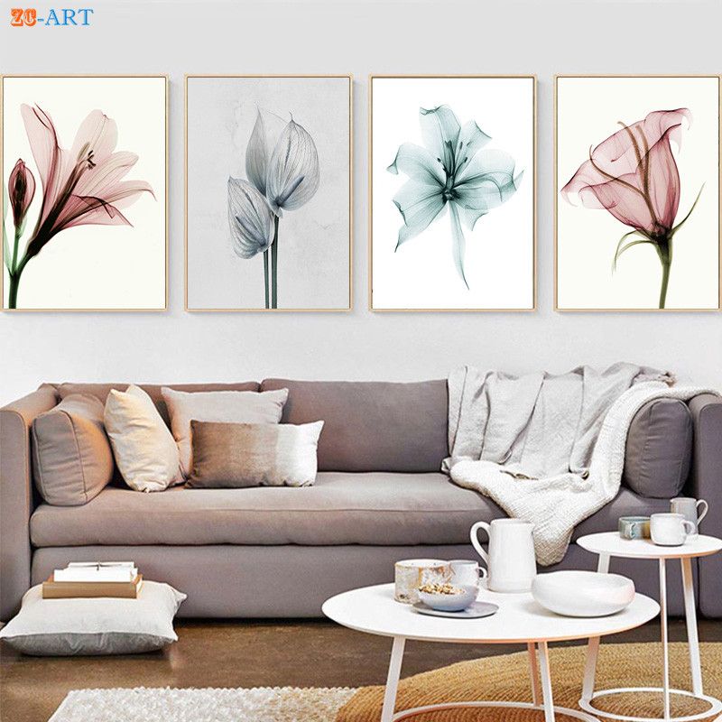 Blush Pink Flowers Prints Abstract Painting Blue Grey Floral Poster Wall Art Minimalist Canvas Painting Home Decor