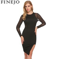 FINNJO Women Sexy Sheer Mesh Patchwork Bodycon Dress 2018 New Spring Autumn Long Sleeve Evening Party