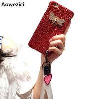 Aoweziic Nuovo Per iphoneX XS MAX XR coperture del telefono mobile femminile cordino 6 s 7 8 più lucido della farfalla di lusso tendenza Amore la cinghia da polso