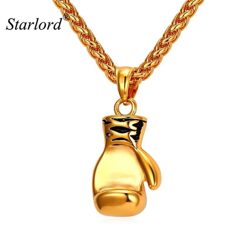 f46af55225b5 Starlord boxeo guante colgante encanto collar deporte boxeo joyería 316L  Acero inoxidable/oro Color ...