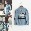 new ds dj dance Vintage Embroidery Letters Jeans Loose BF Back Patch Denim Jacket Coats Oversize Women Style Outerwear