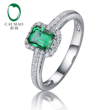 цены Caimao 0.6ct Natural Green Emerald With Diamond Engagement Ring In 14k White Gold