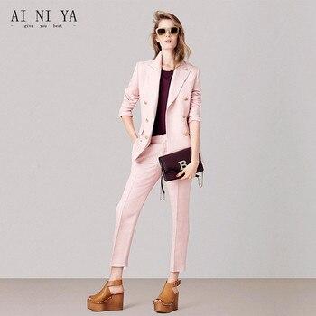 Jacket+Pants Women Business Suits Pink Formal Casual Office Uniform Styles Ladies Elegant Pant Suits Female Trouser Suit Custom