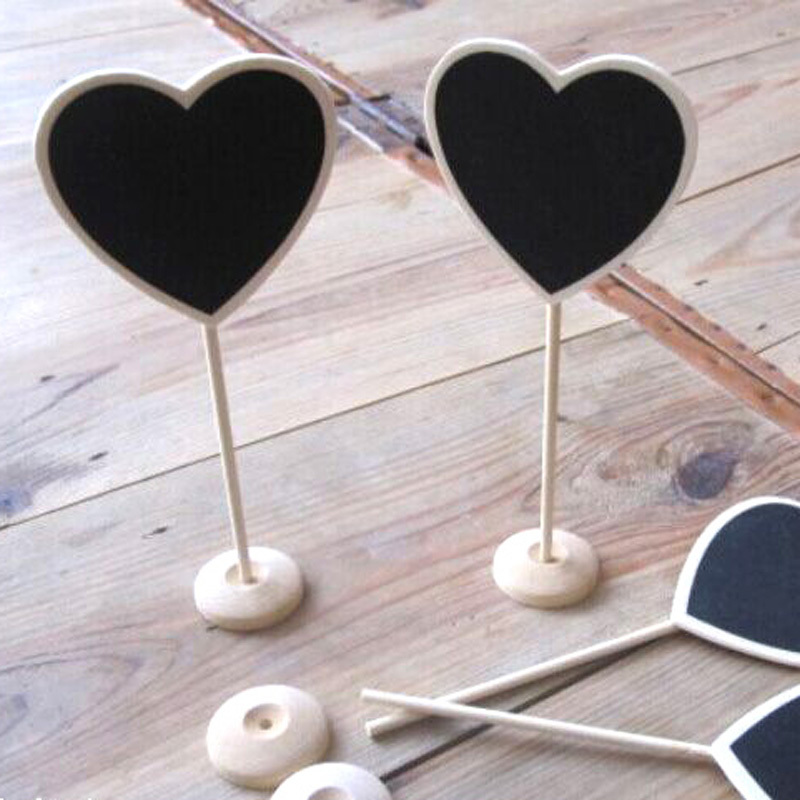 30pcs Mini Heart Shaped Wood Chalkboard Blackboard Place Card Holder Notice Message Paint For School Event Office Decoration