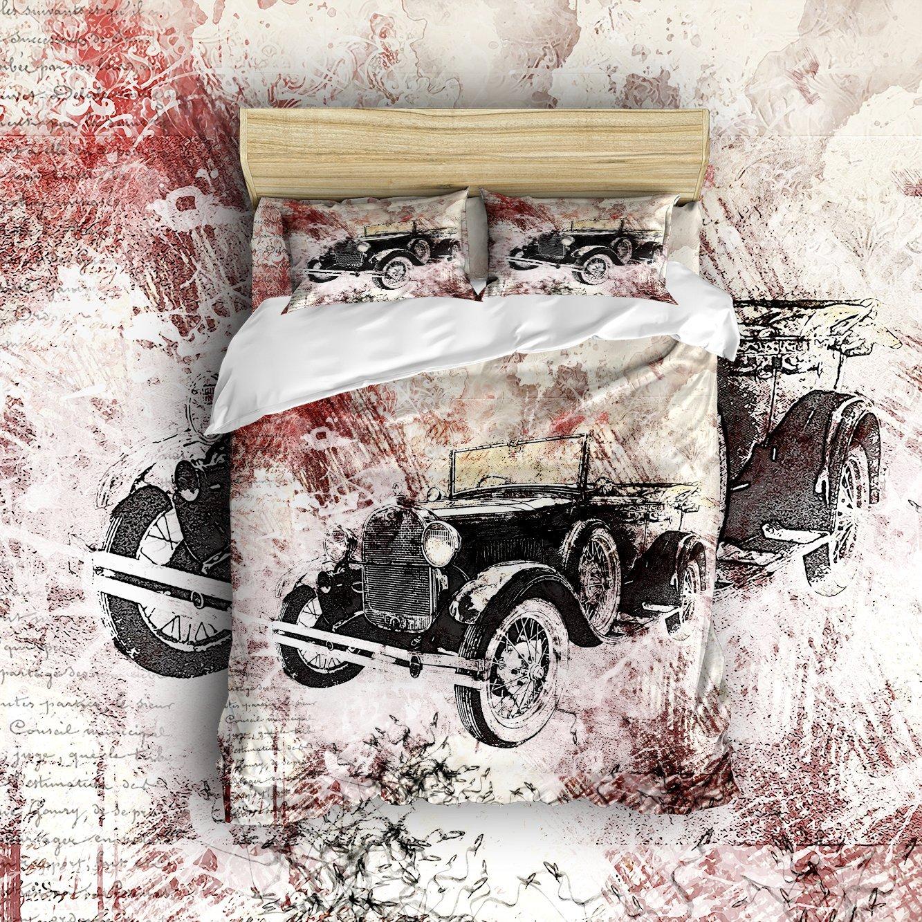 4 Piece Street Graffiti Vintage Cars Old Convertibles Bedding Comforter Set Wrinkle Resistant