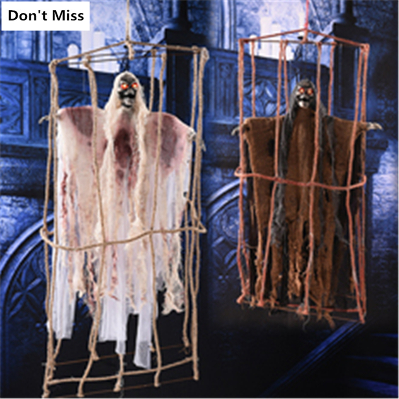 Haloween Creepy Ghost Haunted House Supplies Electric Halloween Hanging Ghosts Haunted House Escape Horror Halloween Decoration