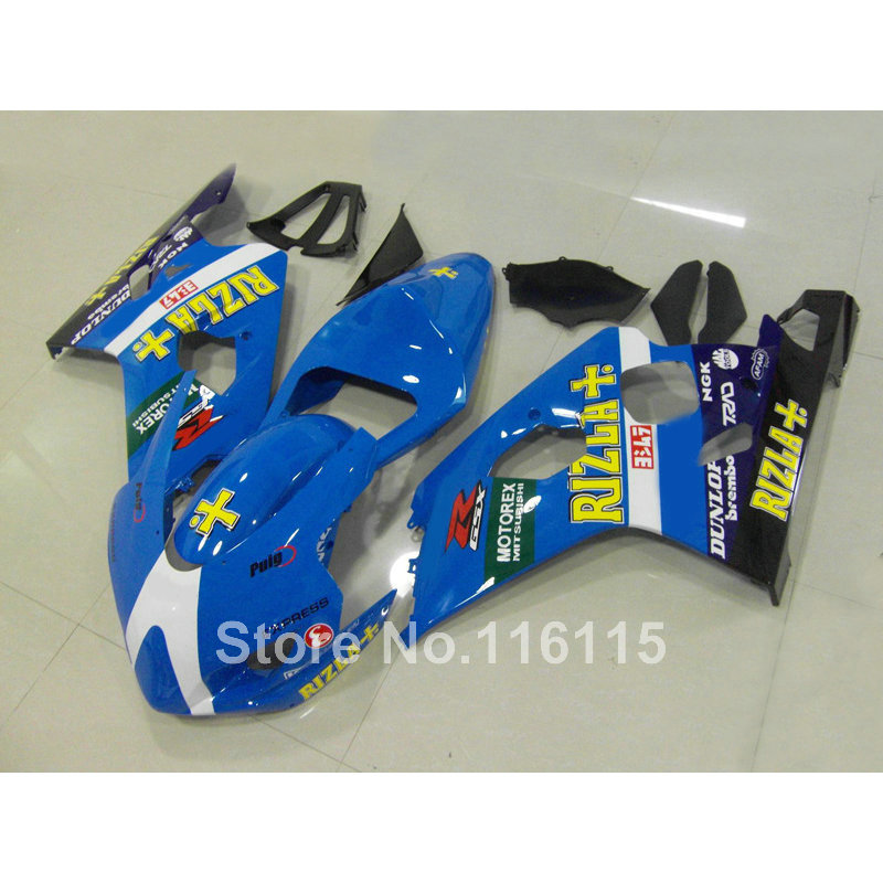 Customize Motorcycle fairing kit for suzuki GSXR 600 750 K4 2004 2005 blue black RIZLA+ GSX-R600 GSX-R750 04 05 fairings Q78 large size 7cm 7cm motorcycle gsxr gsx r brake oil reservoir sock fluid tank cup cover cuff sleeve for suzuki blue black red