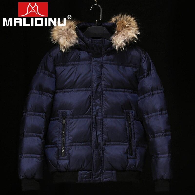 MALIDINU 2018 Men Down Jacket 70%White Duck Down Jacket Down Men Winter Thick Warm Russian Down Coat Fur Collar Free Shipping
