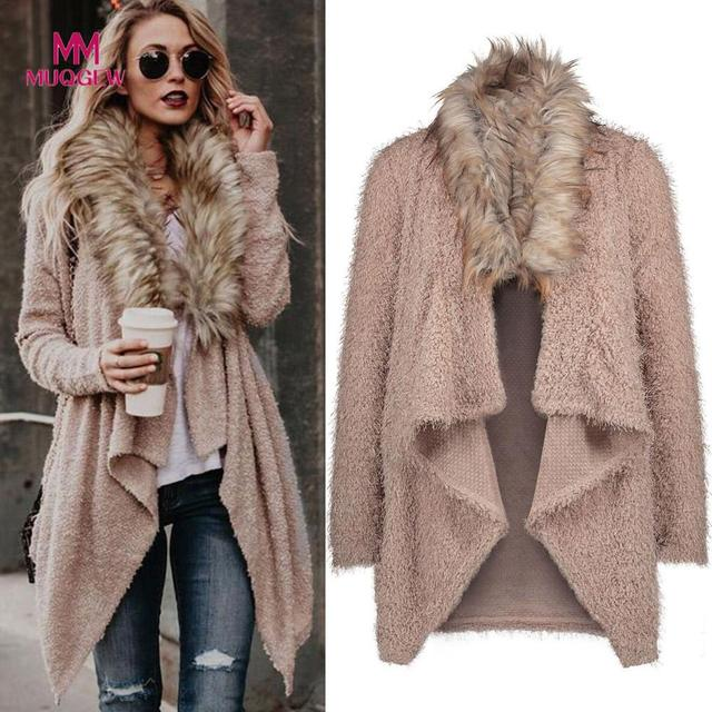 Fashion Luxury Women Knit Faux Fur Long Sleeve Coat Tops Cardigan Sweaters  Parka Outerwear Ladies Spring