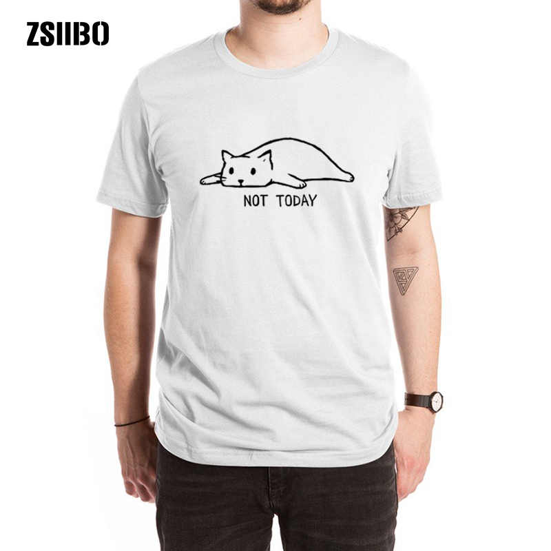 ZSIIBO Fashion Not Today Hip hop Men's T-Shirt Short Sleeve Around The Neck Funny Hipster Cat Lazy Printed T-Shirts tees HY1MC69