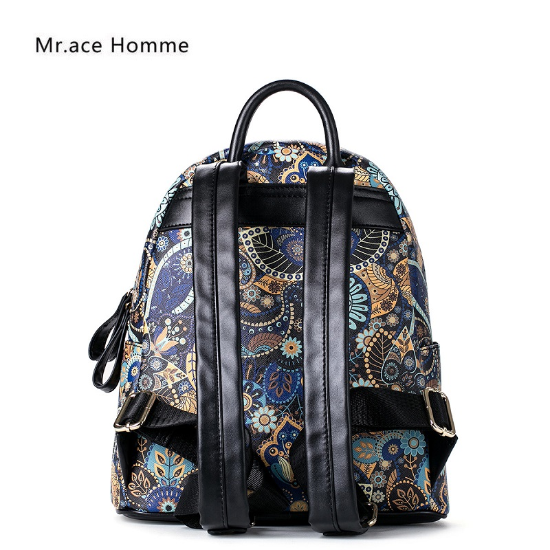 floral impresso mochila de ombro Features : Soft, wear Resistant, waterproof, anti-wrinkle, good Elasticity