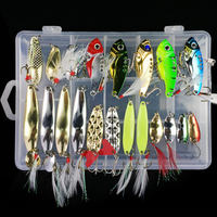 21pcs Metal VIB Fishing Lures Rattles Crankbait Spoon Sinking Baits Hook Tackle Swimbait Sea Ice Saltwater Freshwater Lure Set
