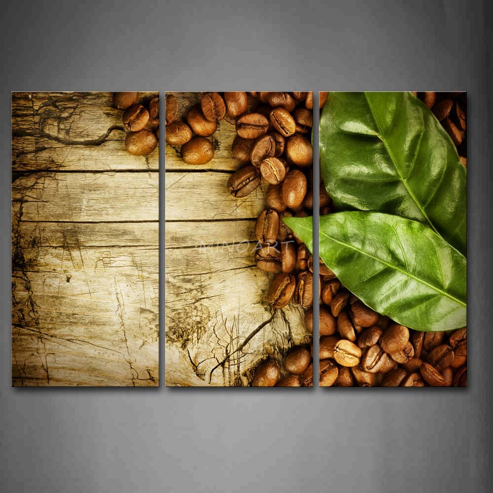 3 Piece Wall Art Painting Bread Coffee With Green Leaf Picture Print ...