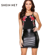 Sheinnet 2017 Women Floral Embroidery Sexy Black Sleeveless Crop Tops Sexy Off Shoulder Camisole