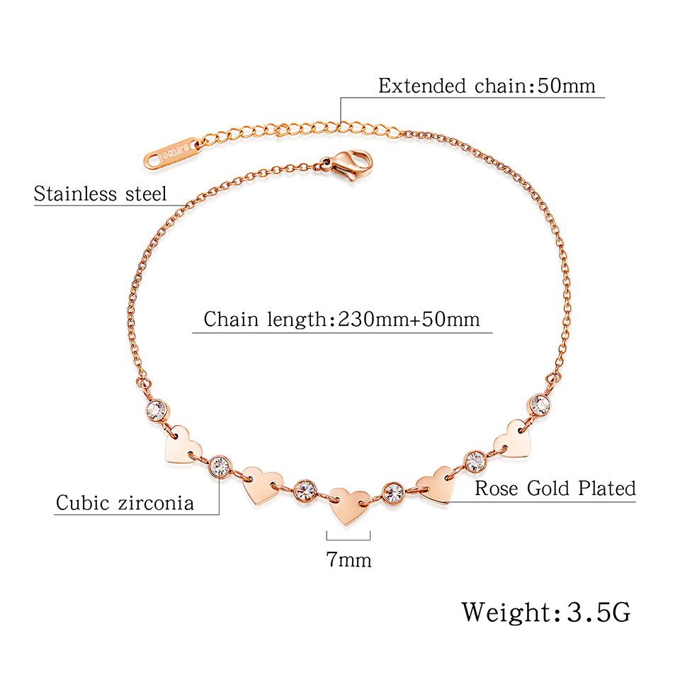 Zircon Love Heart Anklet Rose Gold Color Titanium Stainless Steel Material Anklets Fashion Trendy Women Jewelry Gift 1